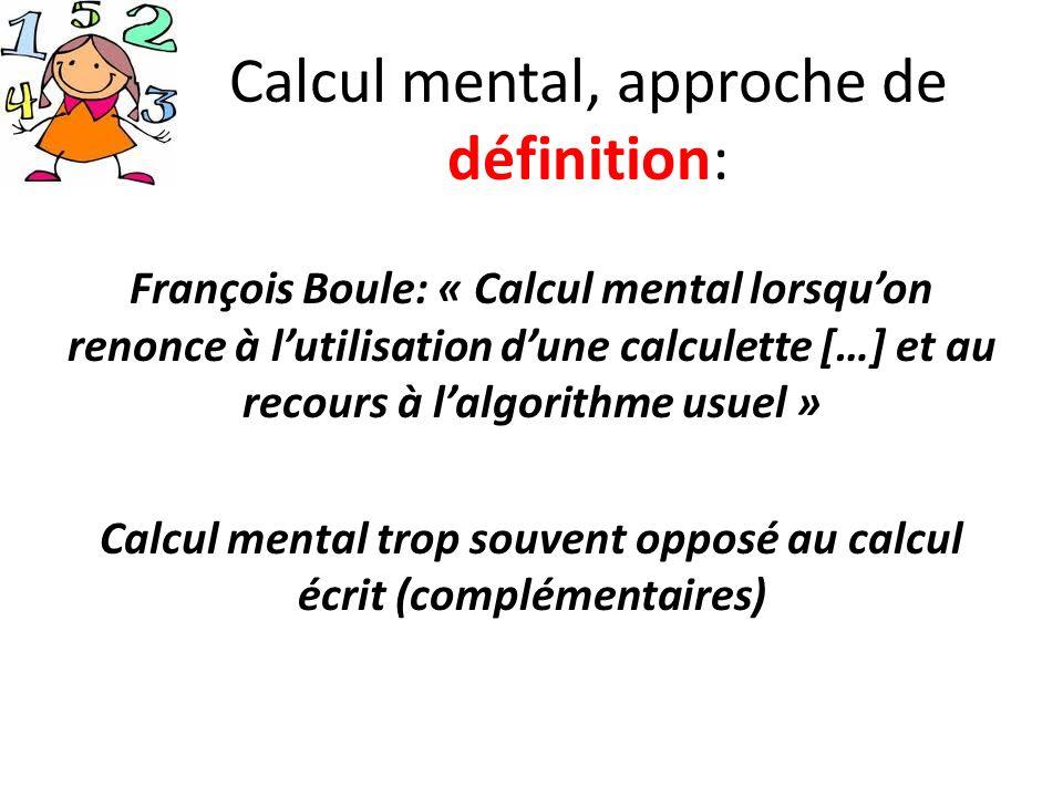 Calcul mental, approche de définition: François Boule: « Calcul mental lorsquon renonce à lutilisation dune calculette […] et au recours à lalgorithme