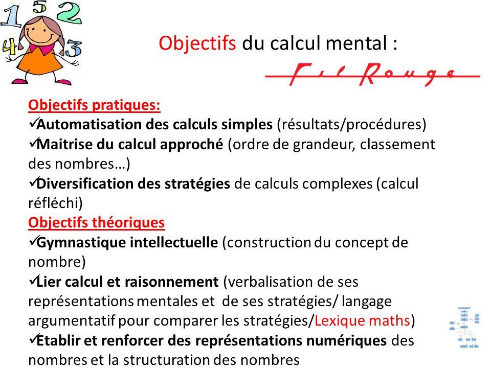 Objectifs du calcul mental : Objectifs pratiques: Automatisation des calculs simples (résultats/procédures) Maitrise du calcul approché (ordre de gran