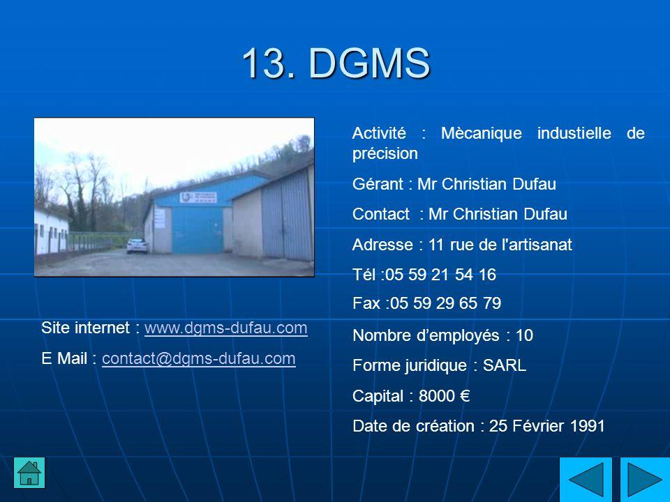 13. DGMS Activité : Mècanique industielle de précision Gérant : Mr Christian Dufau Contact : Mr Christian Dufau Adresse : 11 rue de l'artisanat Tél :0
