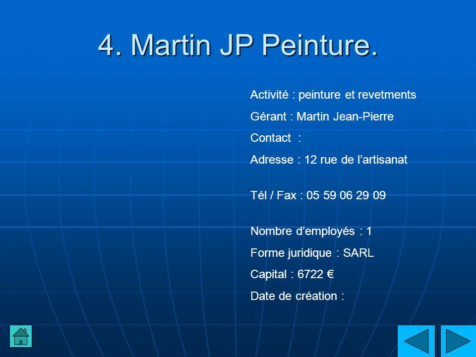 4. Martin JP Peinture. Activité : peinture et revetments Gérant : Martin Jean-Pierre Contact : Adresse : 12 rue de lartisanat Tél / Fax : 05 59 06 29