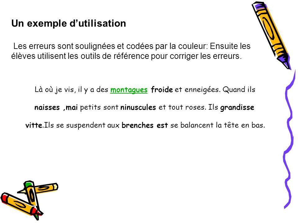 Un exemple dutilisation Les erreurs sont soulignées et codées par la couleur: Ensuite les élèves utilisent les outils de référence pour corriger les e