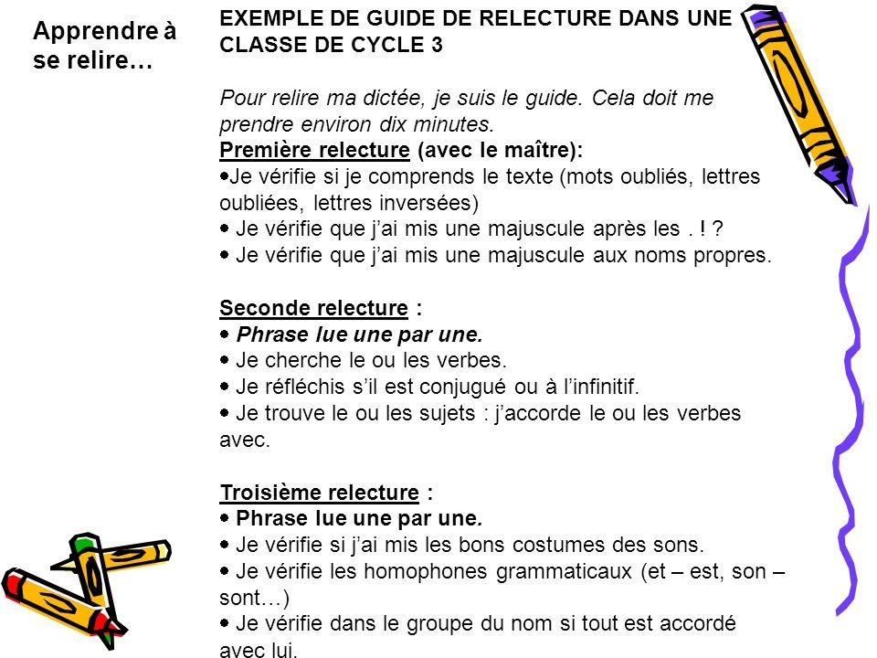 EXEMPLE DE GUIDE DE RELECTURE DANS UNE CLASSE DE CYCLE 3 Pour relire ma dictée, je suis le guide. Cela doit me prendre environ dix minutes. Première r