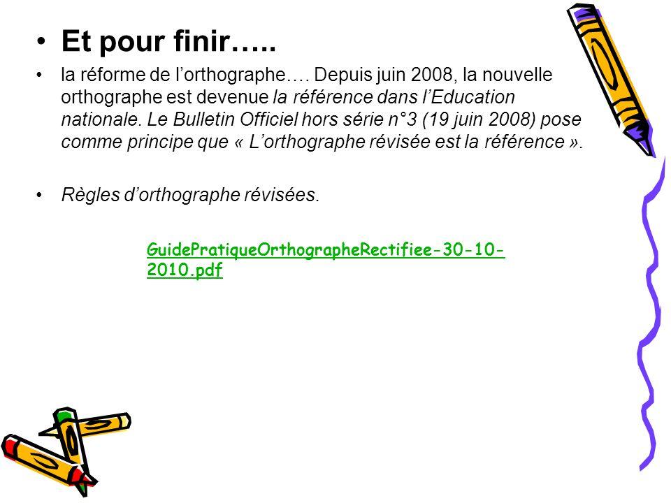 Et pour finir….. la réforme de lorthographe…. Depuis juin 2008, la nouvelle orthographe est devenue la référence dans lEducation nationale. Le Bulleti