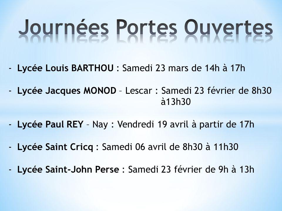 -Lycée Louis BARTHOU : Samedi 23 mars de 14h à 17h -Lycée Jacques MONOD – Lescar : Samedi 23 février de 8h30 à13h30 -Lycée Paul REY – Nay : Vendredi 1