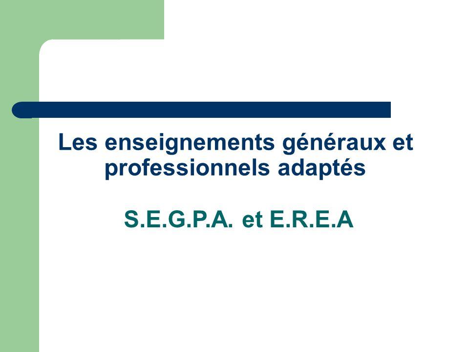 Les enseignements généraux et professionnels adaptés S.E.G.P.A. et E.R.E.A