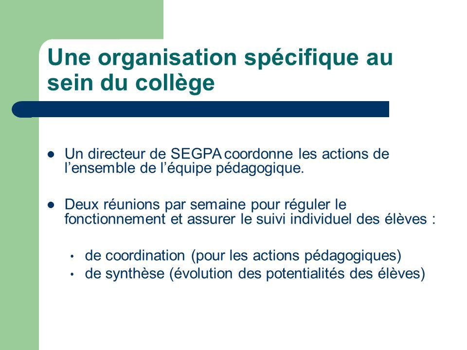 Une organisation spécifique au sein du collège Un directeur de SEGPA coordonne les actions de lensemble de léquipe pédagogique. Deux réunions par sema