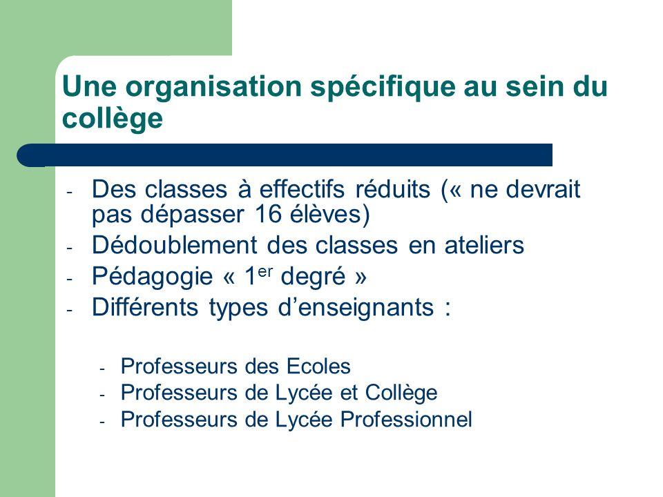 Une organisation spécifique au sein du collège - Des classes à effectifs réduits (« ne devrait pas dépasser 16 élèves) - Dédoublement des classes en a
