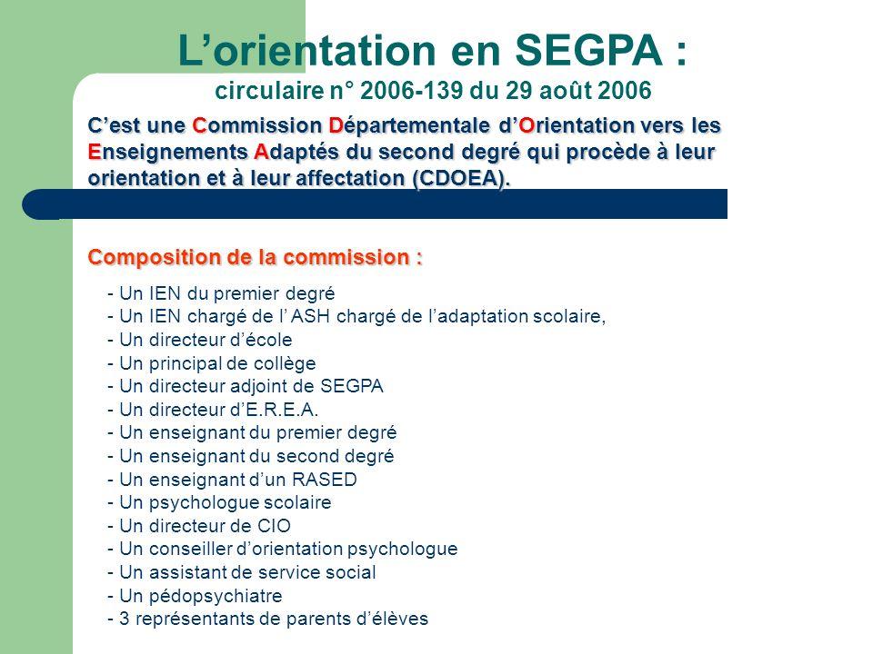 Lorientation en SEGPA : circulaire n° 2006-139 du 29 août 2006 Cest une Commission Départementale dOrientation vers les Enseignements Adaptés du secon