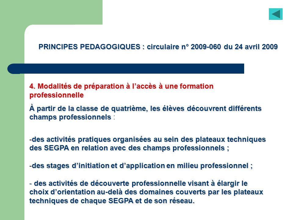 PRINCIPES PEDAGOGIQUES : circulaire n° 2009-060 du 24 avril 2009 4. Modalités de préparation à laccès à une formation professionnelle À partir de la c