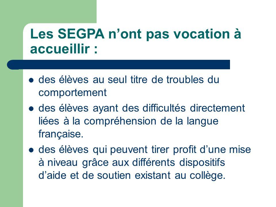Les SEGPA nont pas vocation à accueillir : des élèves au seul titre de troubles du comportement des élèves ayant des difficultés directement liées à l