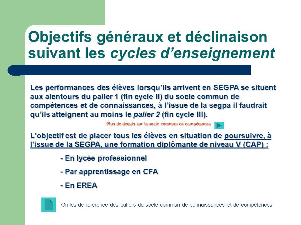 Objectifs généraux et déclinaison suivant les cycles denseignement Les performances des élèves lorsquils arrivent en SEGPA se situent aux alentours du