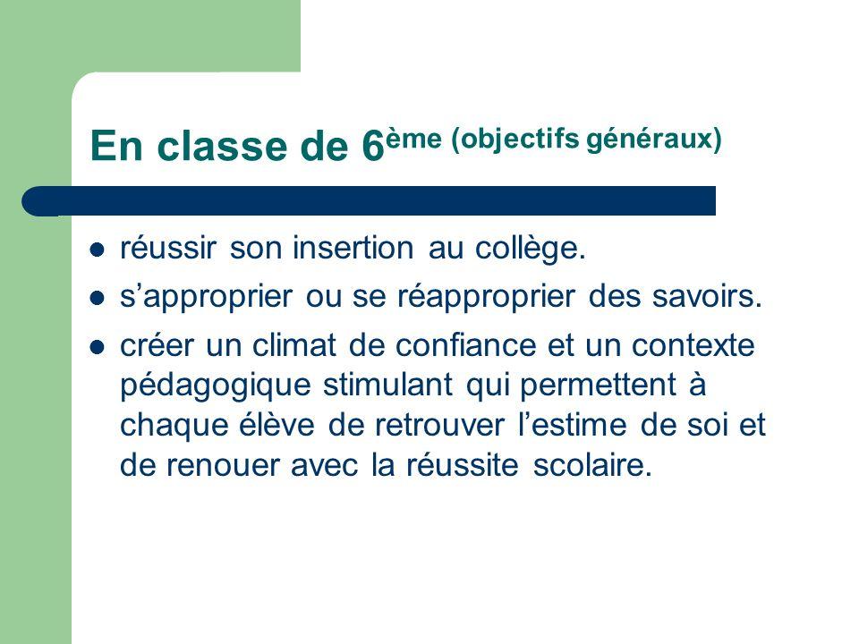 En classe de 6 ème (objectifs généraux) réussir son insertion au collège. sapproprier ou se réapproprier des savoirs. créer un climat de confiance et