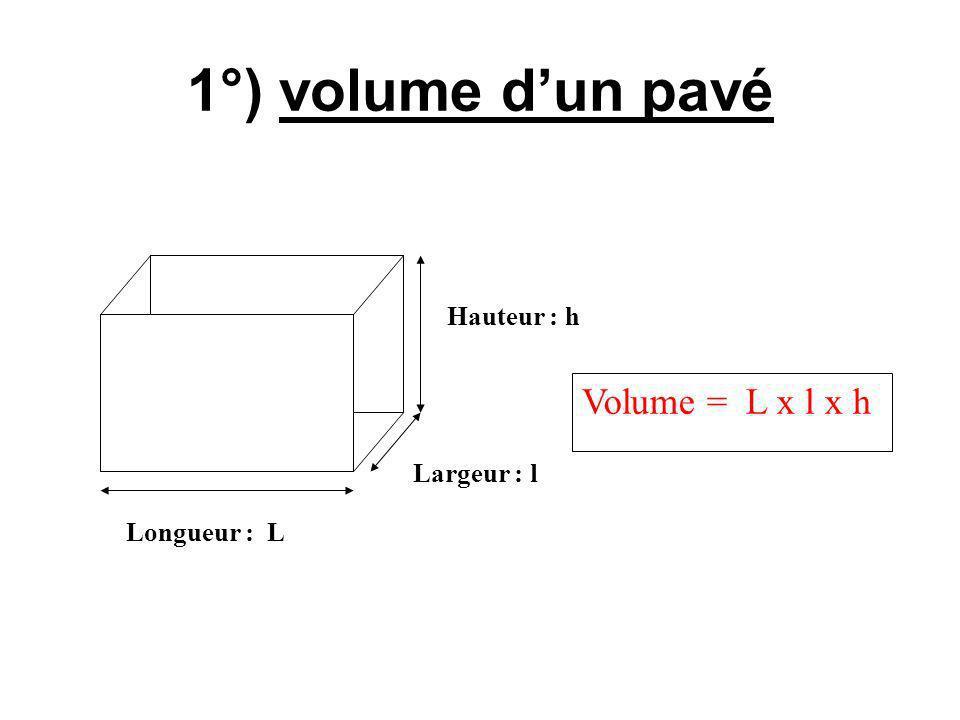 1°) volume dun pavé Longueur : L Largeur : l Hauteur : h Volume = L x l x h