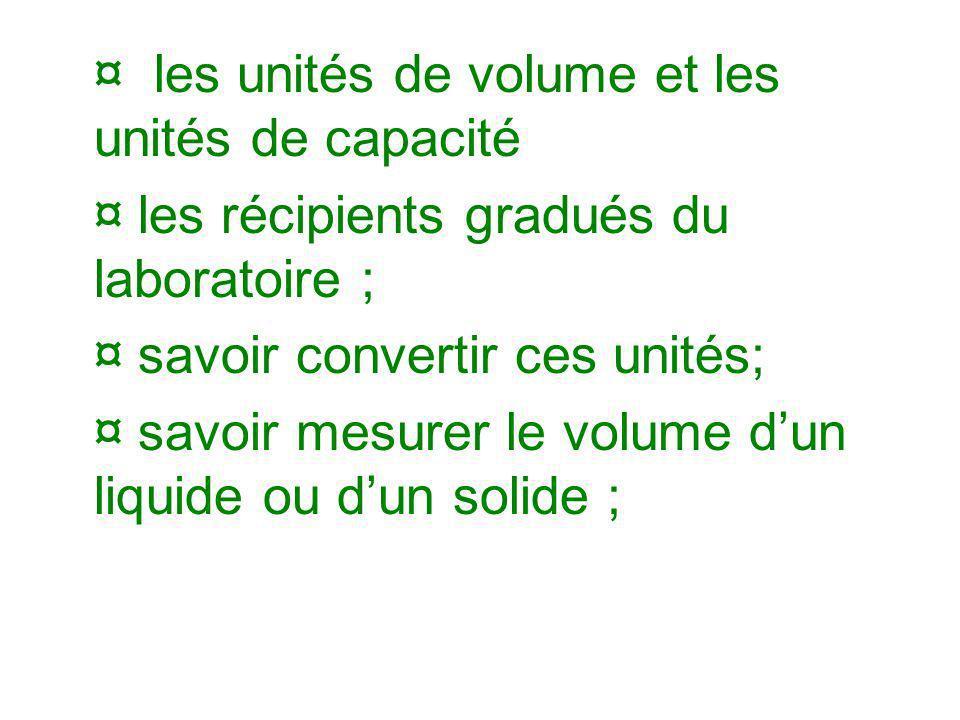¤les unités de volume et les unités de capacité ¤ les récipients gradués du laboratoire ; ¤ savoir convertir ces unités; ¤ savoir mesurer le volume du