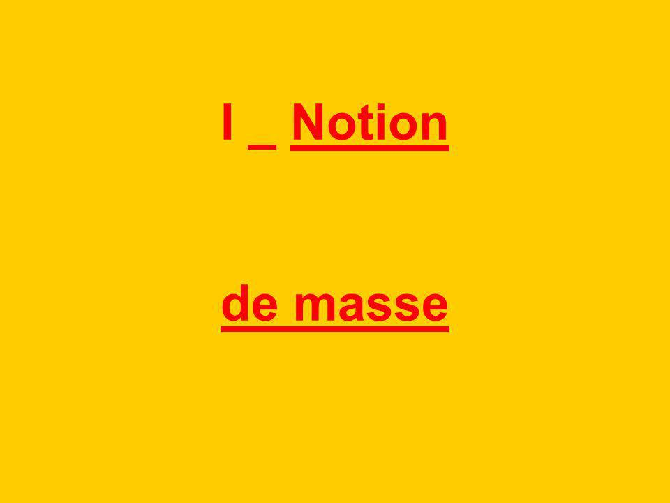 I _ Notion de masse