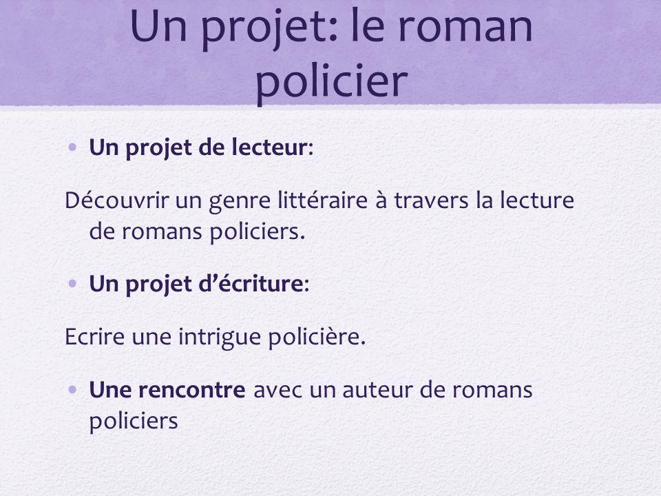 Un projet: le roman policier Un projet de lecteur: Découvrir un genre littéraire à travers la lecture de romans policiers. Un projet décriture: Ecrire