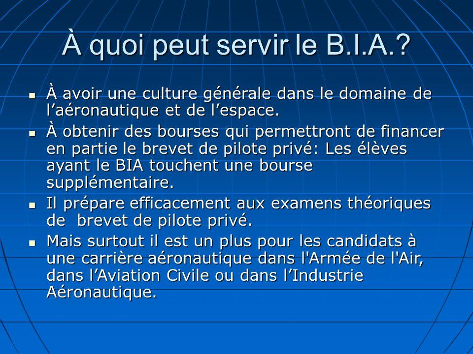 À quoi peut servir le B.I.A..