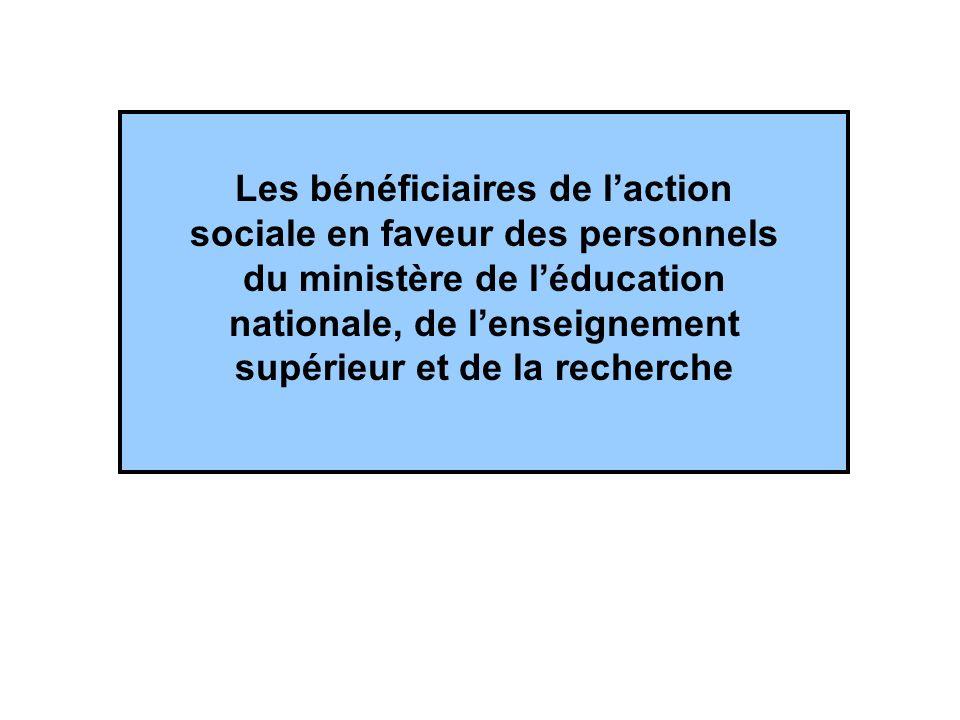 Les bénéficiaires de laction sociale en faveur des personnels du ministère de léducation nationale, de lenseignement supérieur et de la recherche