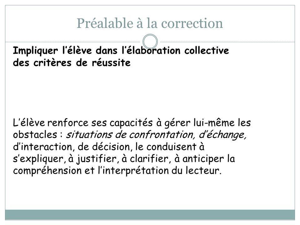 Préalable à la correction Impliquer lélève dans lélaboration collective des critères de réussite Lélève renforce ses capacités à gérer lui-même les ob