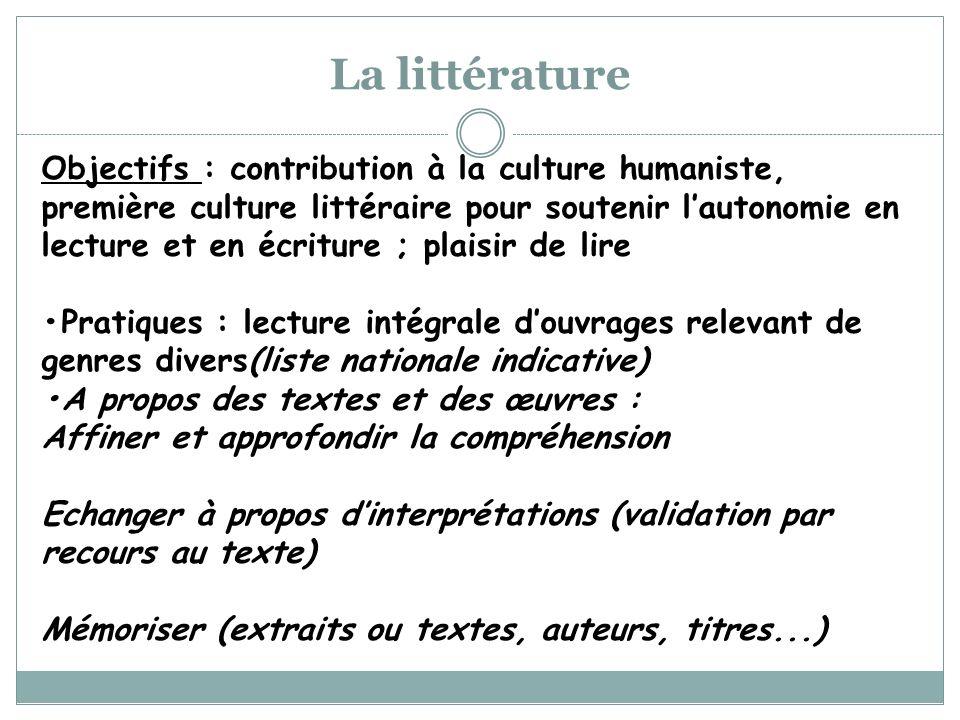 Objectifs : contribution à la culture humaniste, première culture littéraire pour soutenir lautonomie en lecture et en écriture ; plaisir de lire Prat