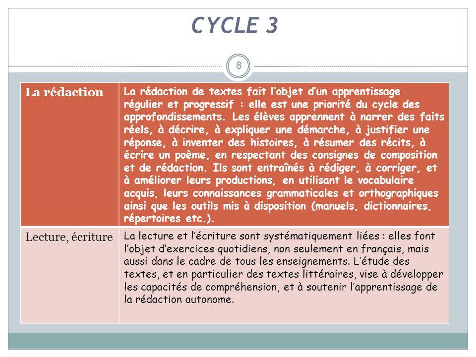 8 CYCLE 3 La rédaction La rédaction de textes fait lobjet dun apprentissage régulier et progressif : elle est une priorité du cycle des approfondissem