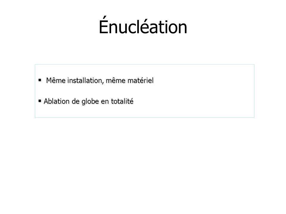 Énucléation Même installation, même matériel Même installation, même matériel Ablation de globe en totalité Ablation de globe en totalité