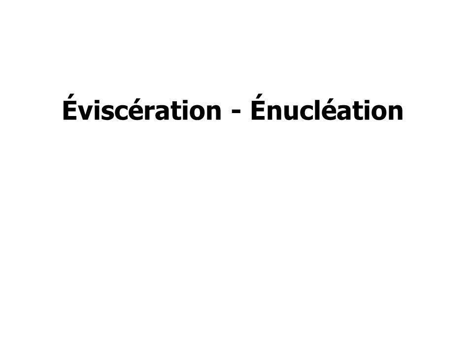 Éviscération et Énucléation Définitions Éviscération : Ablation de tout le contenu du globe en conservant la sclère Éviscération : Ablation de tout le contenu du globe en conservant la sclère Énucléation : Ablation de tout le globe oculaire Énucléation : Ablation de tout le globe oculaire Indications : Globes non fonctionnels, douloureux et inesthétiques, faisant suite à des traumatismes, infections, tumeurs, malformations…