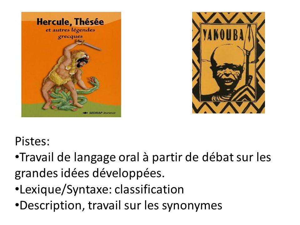 Pistes: Travail de langage oral à partir de débat sur les grandes idées développées. Lexique/Syntaxe: classification Description, travail sur les syno