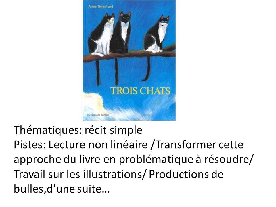 Thématiques: récit simple Pistes: Lecture non linéaire /Transformer cette approche du livre en problématique à résoudre/ Travail sur les illustrations