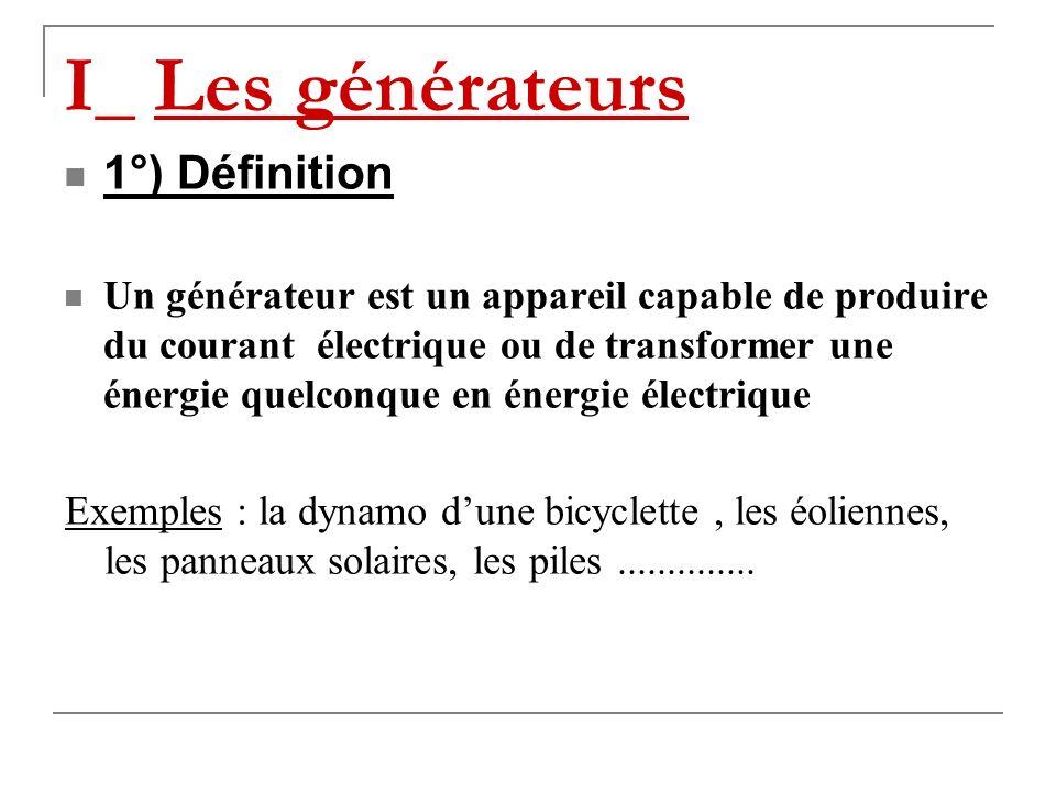 Allumer une lampe avec un générateur Objectifs de la leçon Connaître la définition dun générateur ; Connaître le rôle dun générateur dans un circuit ; Connaître les deux modèles de générateurs; Connaître le schéma dune lampe ; Savoir détecter le bon état dune lampe ; Savoir construire un circuit simple comprenant un générateur, une lampe et un interrupteur.