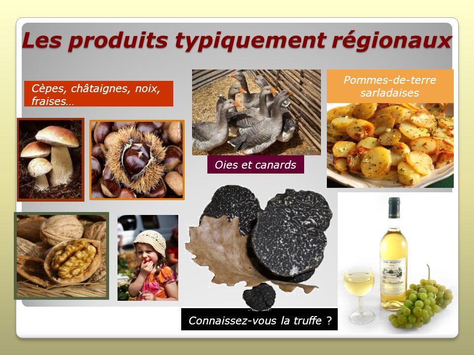 Les produits typiquement régionaux Connaissez-vous la truffe ? Cèpes, châtaignes, noix, fraises… Pommes-de-terre sarladaises Oies et canards