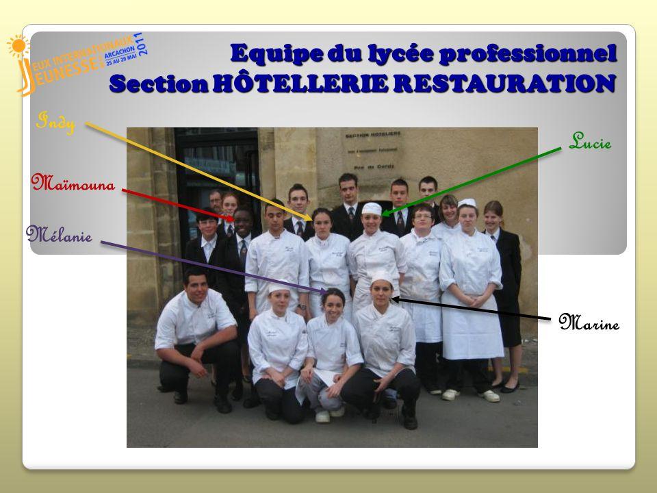 Equipe du lycée professionnel Section HÔTELLERIE RESTAURATION Indy Lucie Maïmouna Mélanie Marine