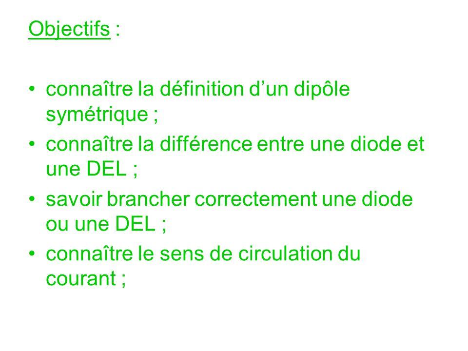 Objectifs : connaître la définition dun dipôle symétrique ; connaître la différence entre une diode et une DEL ; savoir brancher correctement une diod