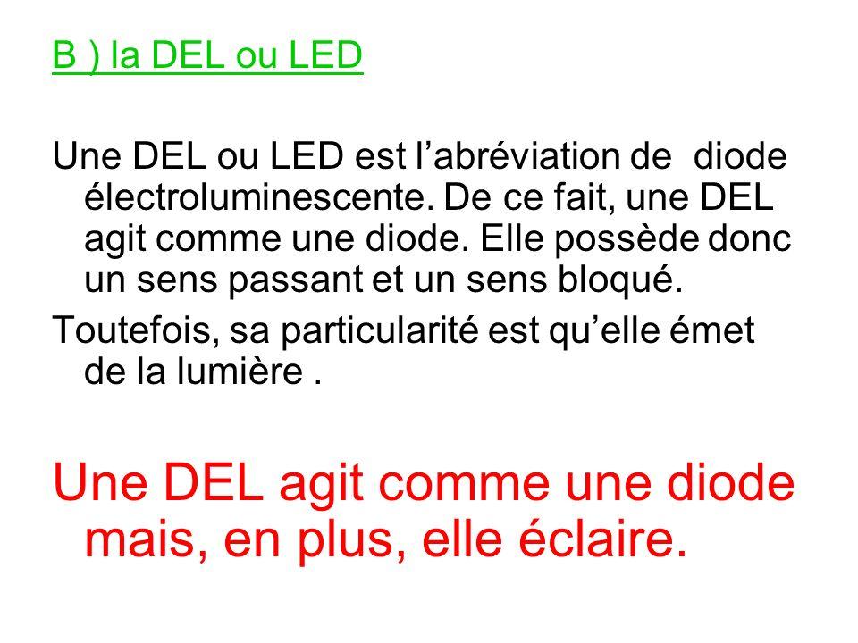 B ) la DEL ou LED Une DEL ou LED est labréviation de diode électroluminescente. De ce fait, une DEL agit comme une diode. Elle possède donc un sens pa