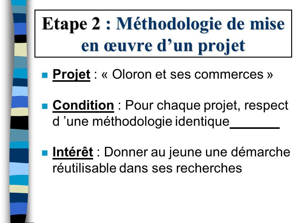 Etape 2 : Méthodologie de mise en œuvre dun projet n Projet : « Oloron et ses commerces » n Condition : Pour chaque projet, respect d une méthodologie identique n Intérêt : Donner au jeune une démarche réutilisable dans ses recherches