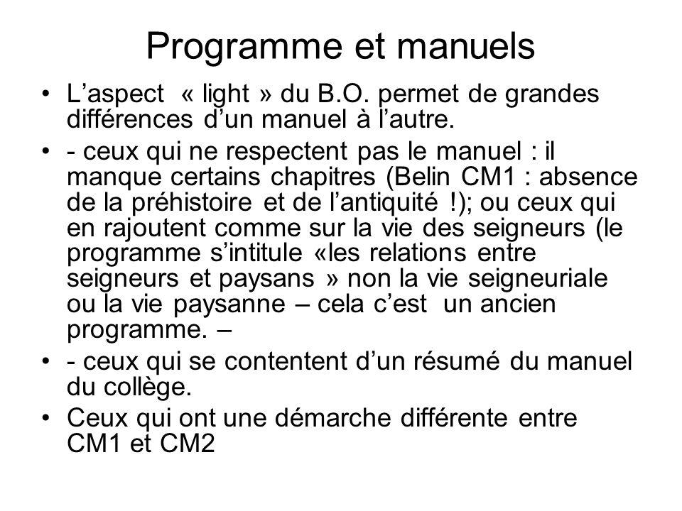 Programme et manuels Laspect « light » du B.O. permet de grandes différences dun manuel à lautre. - ceux qui ne respectent pas le manuel : il manque c