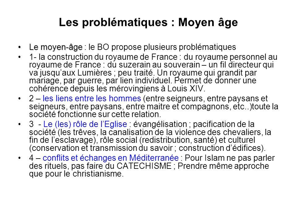 Les problématiques : Moyen âge Le moyen-âgeLe moyen-âge : le BO propose plusieurs problématiques 1- la construction du royaume de France : du royaume