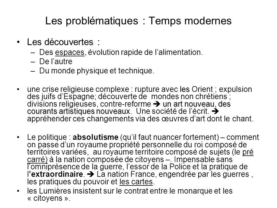 Les problématiques : Temps modernes Les découvertes : –Des espaces, évolution rapide de lalimentation. –De lautre –Du monde physique et technique. les