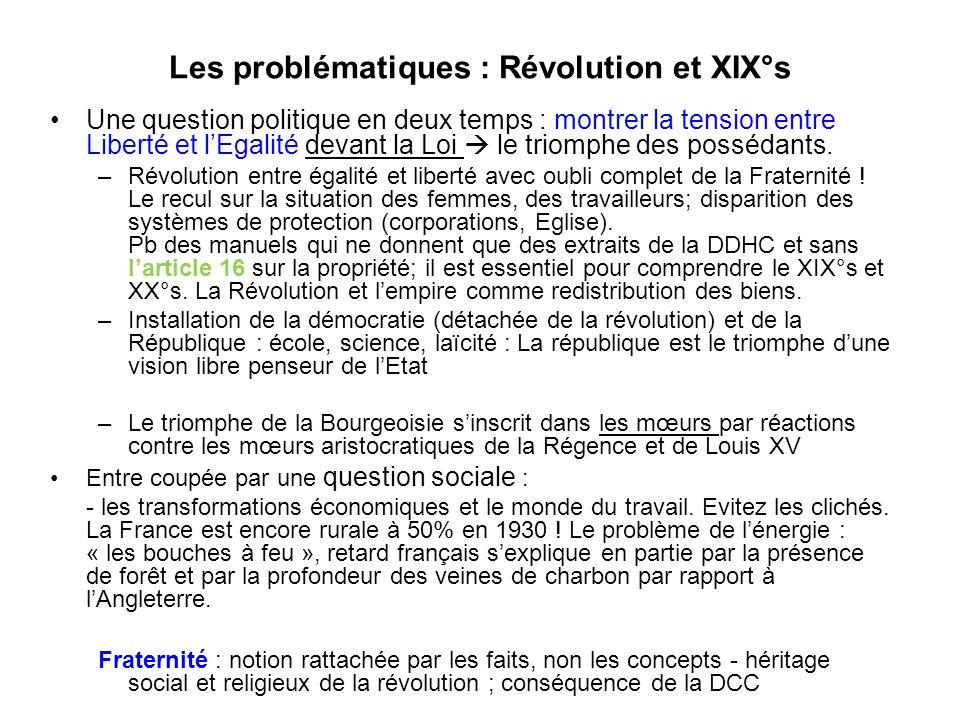 Les problématiques : Révolution et XIX°s Une question politique en deux temps : montrer la tension entre Liberté et lEgalité devant la Loi le triomphe