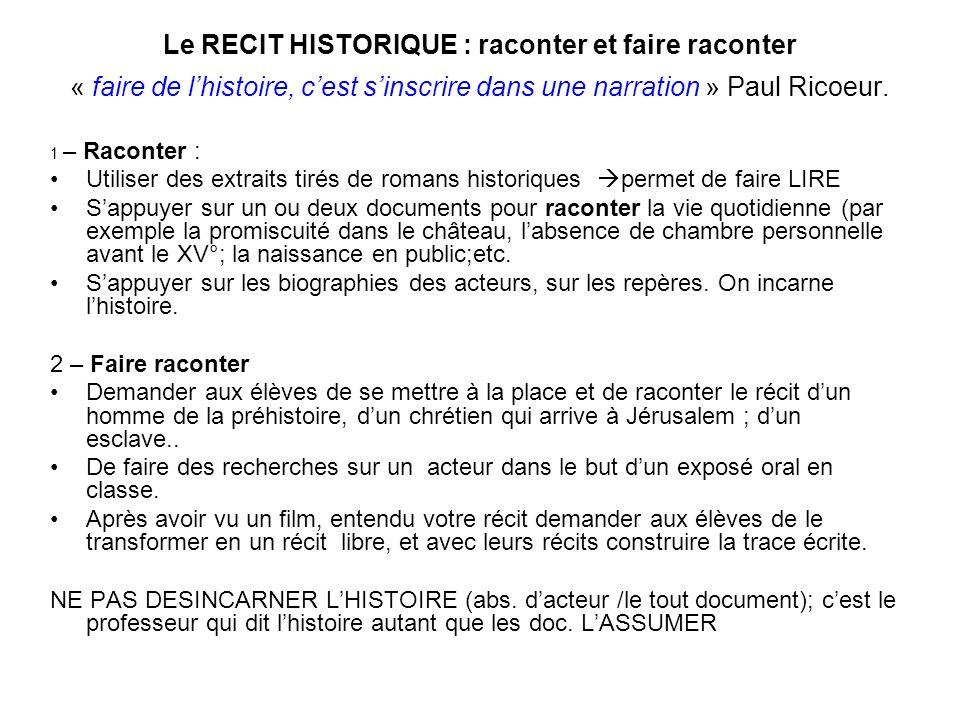 Le RECIT HISTORIQUE : raconter et faire raconter « faire de lhistoire, cest sinscrire dans une narration » Paul Ricoeur. 1 – Raconter : Utiliser des e