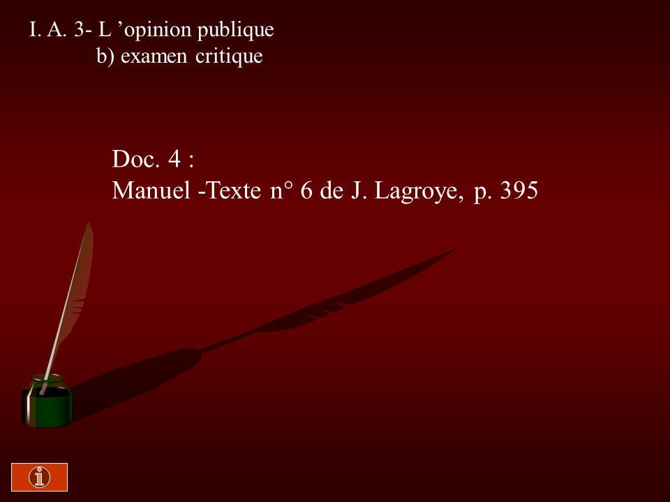 I. A. 3- L opinion publique a) essai de définition Doc. 3 : Polycopié -Texte de G. Burdeau