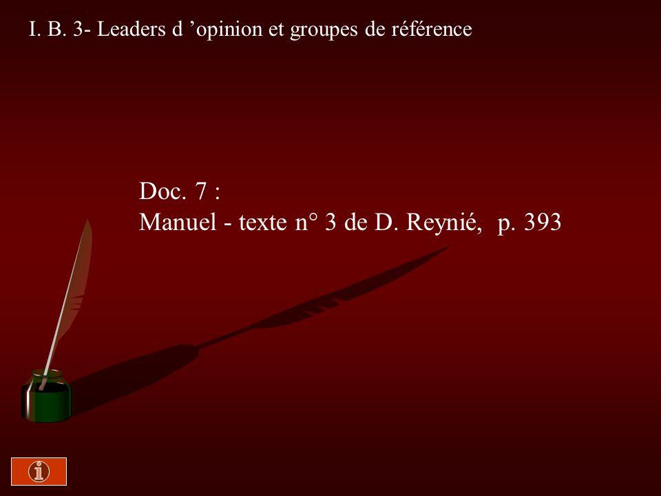 I. B. 2- De nombreux facteurs Doc. 6 : Polycopié -Texte de J. Stoetzel