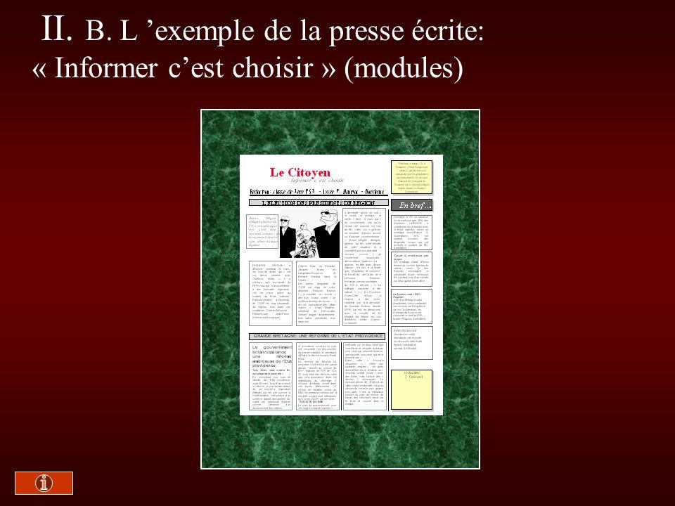 II. B. L exemple de la presse écrite: « Informer cest choisir » (modules)