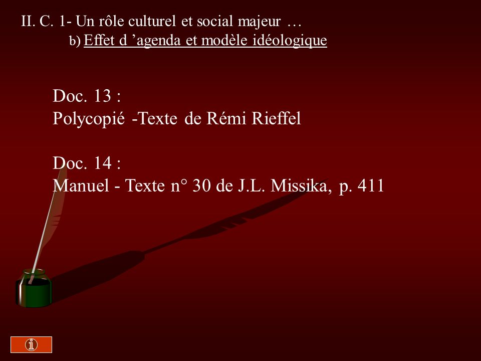 II. C. 1- Des effets culturels et sociaux majeurs a) Persuasion ou propagande? Doc. 12 : Manuel -Texte n°29 de Judith Lazar, p.410