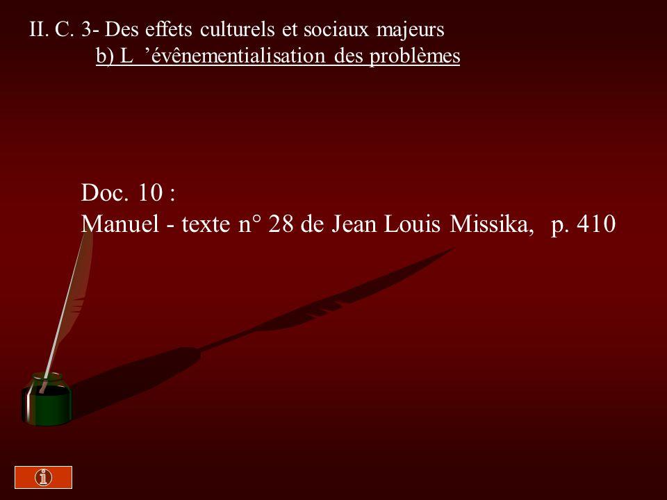 II. C. 3 - Le modèle dominant de la télévision a) Le pouvoir des images Doc. 9 : Manuel -Texte n° 27 de Ariane Chemin, p. 409