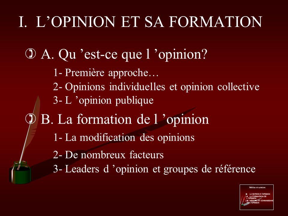 Médias et opinion )I L OPINION ET SA FORMATION )II LES MEDIAS, UN INSTRUMENT DINFLUENCE.