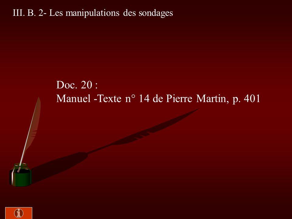 III. B. 1- Les sondages peuvent-ils se tromper ? Doc. 19 : Manuel - texte n° 10 de Dominique Reynié, p. 398