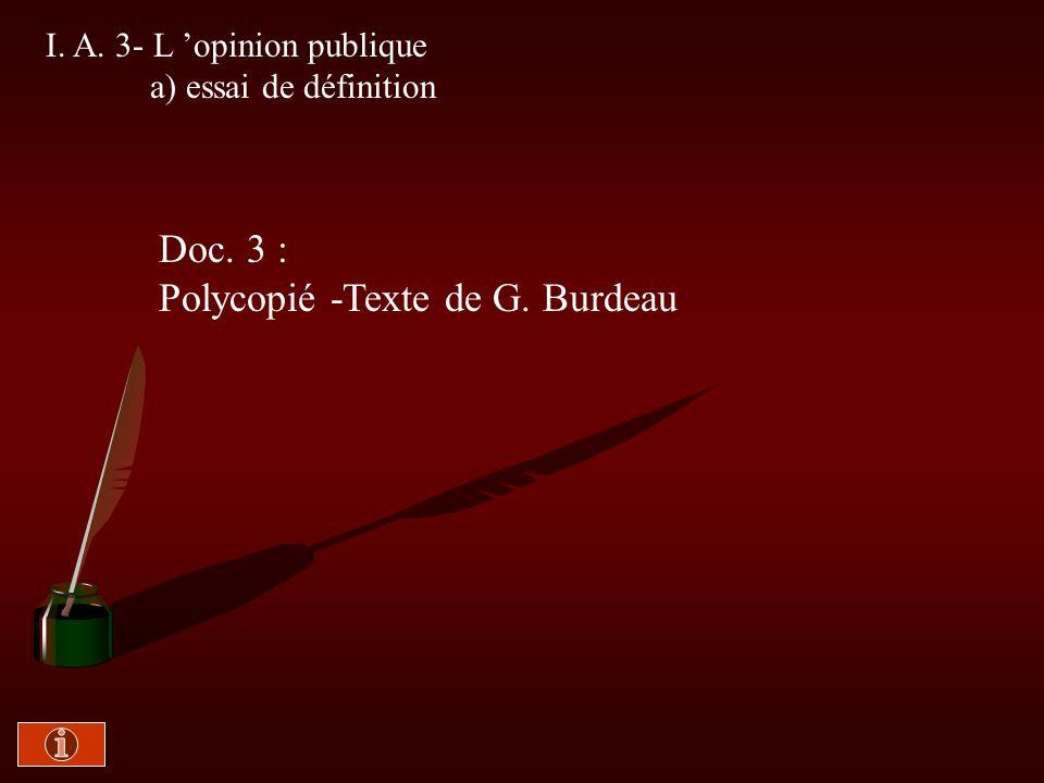 I. A. 2- Opinions individuelles et opinion collective Doc. 2 : Polycopié - Texte de H. Mendras
