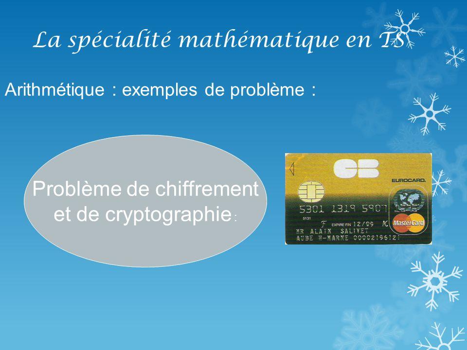 La spécialité mathématique en TS Arithmétique : exemples de problème : Problème de chiffrement et de cryptographie :