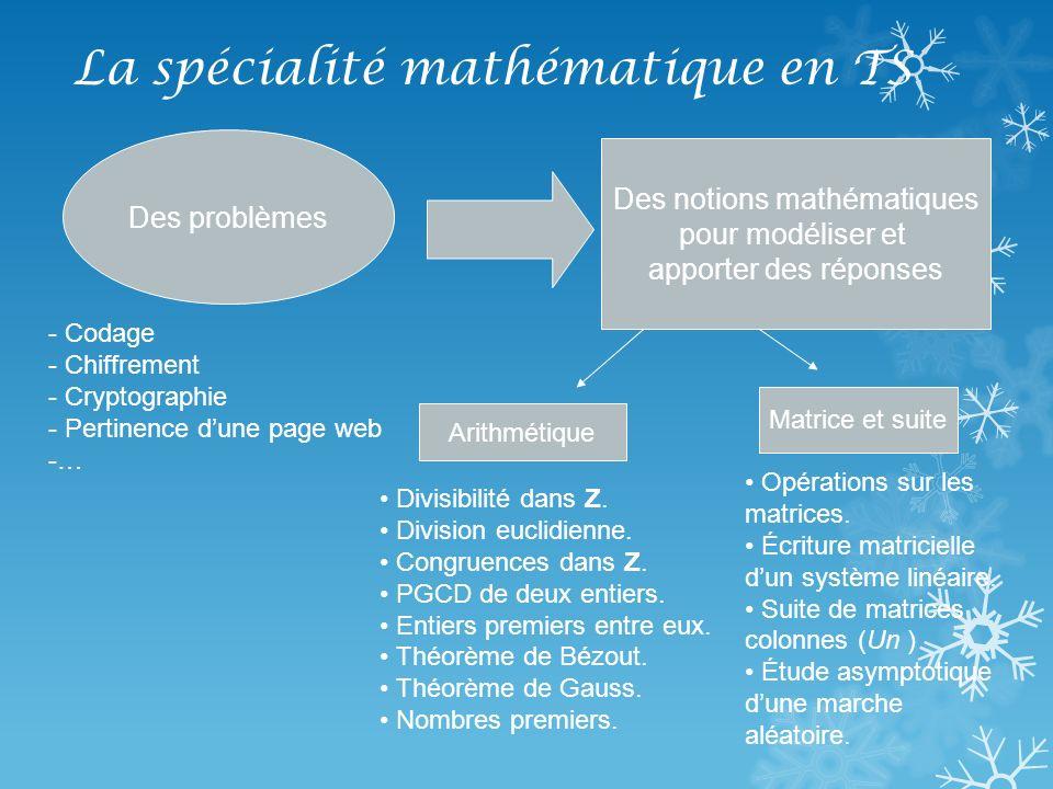 La spécialité mathématique en TS Des problèmes Des notions mathématiques pour modéliser et apporter des réponses - Codage - Chiffrement - Cryptographi